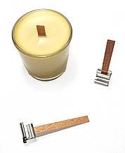 Деревянный фитиль с металлическим держателем высотой 13 см, ширина 12 мм