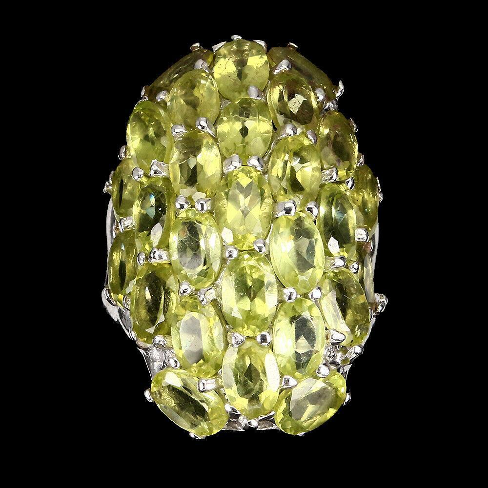 Крупное Серебряное Кольцо с Перидотом (Хризолитами)