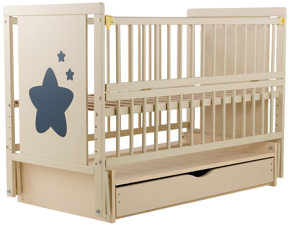 Кровать Babyroom Звездочка Z-03 маятник, ящик, откидной сторону бук слоновая кость