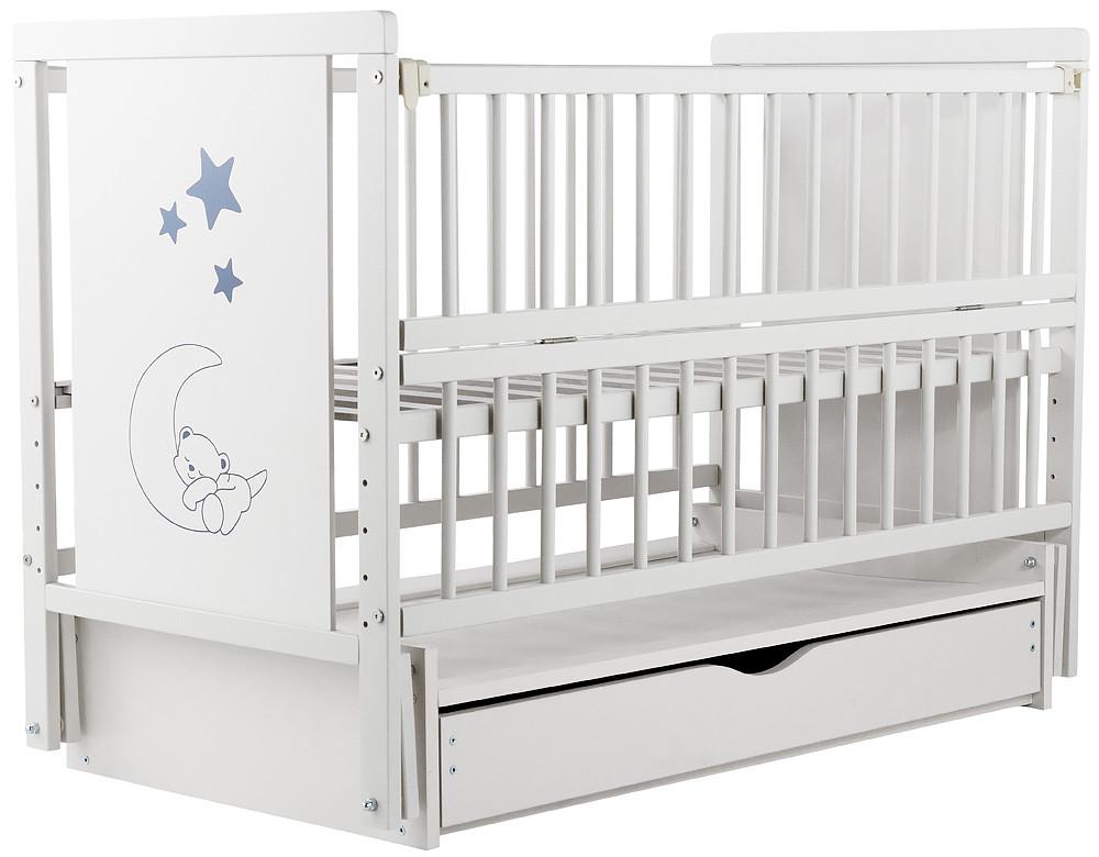 Кровать Babyroom Мишка M-03 маятник, ящик, откидной сторону бук белый