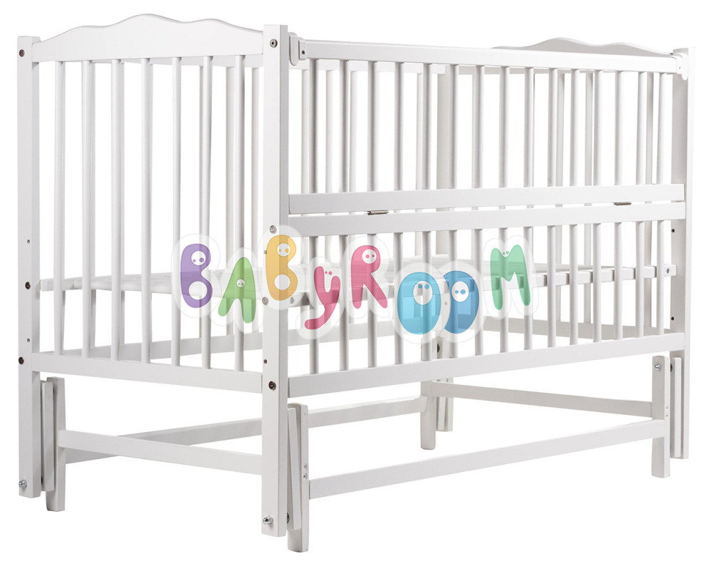 Кровать Babyroom Радуга маятник, откидной сторону DVMO-2 бук белый