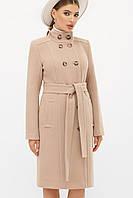 Бежевое женское демисезонное пальто   с поясом  на пуговицах П-407-100, фото 1