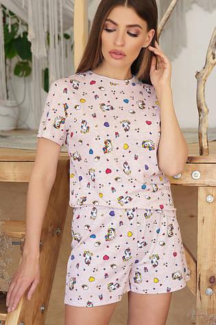 Бежевая женская трикотажная пижама с футболкой и шортами Единорожки, фото 2