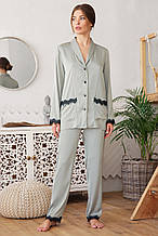 Женская пижамная рубашка на длинный рукав с кружевом Долорес