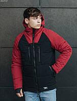 Зимняя куртка с капюшоном мужская Staff heat black & bordo, фото 1