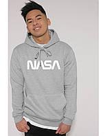 Худи NASA 2019 серое с логотипом, унисекс (мужское, женское, детское)