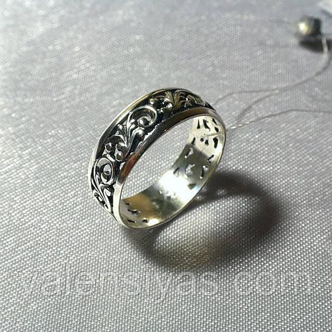 Серебряное кольцо с узором, фото 2