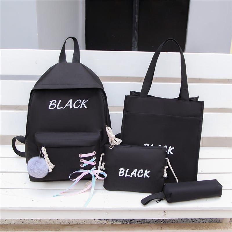 Женский рюкзак 4в1, полиэстер (чёрный)