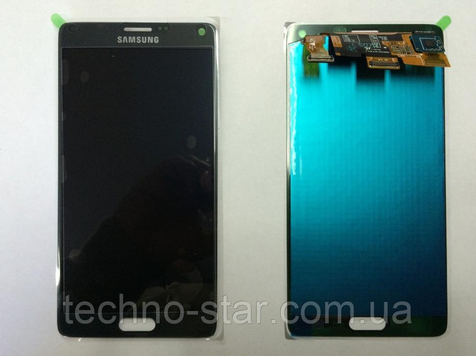 Оригинальный дисплей (модуль) + тачскрин (сенсор) Samsung Galaxy Note 4 N910F N910H серый переклеено стекло