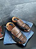 Мужские сандали кожаные летние черные-коричневые Bumer Premium 900, фото 3