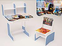 """Парта-стол детская школьная растишка со стулом """"Ниндзяго"""" 106, голубая"""