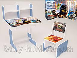 """Парта-стіл дитяча шкільна растишка зі стільцем """"Ниндзяго"""" 106, блакитна"""