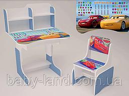 """Парта-стіл дитяча шкільна растишка зі стільцем """"Тачки"""" 109, синя"""
