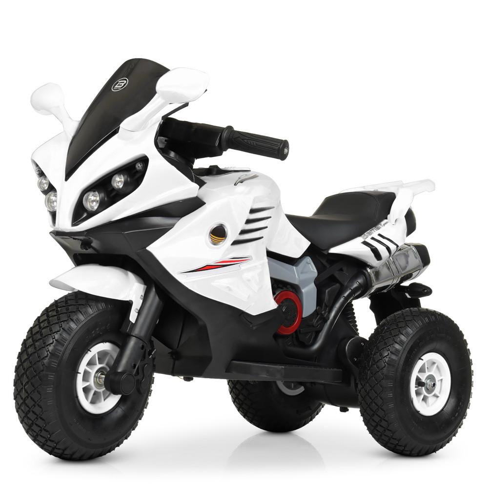 Детский мотоцикл M 4216 AL-1, музыка, свет, надувные колеса, кожаное сиденье, белый