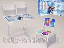 """Парта-стіл дитяча шкільна растишка зі стільцем """"Холодне серце"""" 111,фіолетова"""