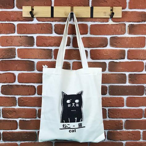 Тканевая Эко Сумка Шоппер City-A Cat с Котом Белая, фото 2