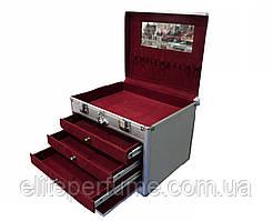 Бьюти-кейс чемодан для косметики серебристый