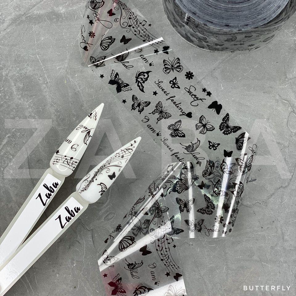 Фольга перекладна Метелики чорні, 50 см