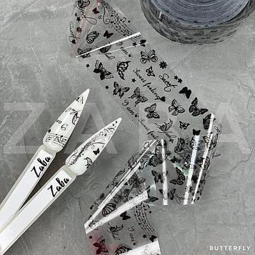 Фольга переводная Бабочки черные, 50 см
