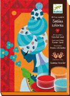 """Djeco Художественный комплект для рисования цветным песком """"Голубые принцессы"""""""