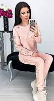 Костюм женский брючный спортивный с гипюром карманами и манжетами 42 44 46 48 50 Р