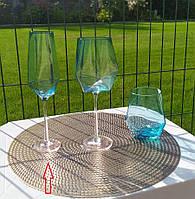 """Набор бокалов 4 шт для шампанского """"Голубой бриллиант"""", 350 мл, XD01"""