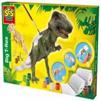 Ses Набор для творчества - Тиранозавр (дерево, гипсовая ткань, краски, кисточка, аксессуары)