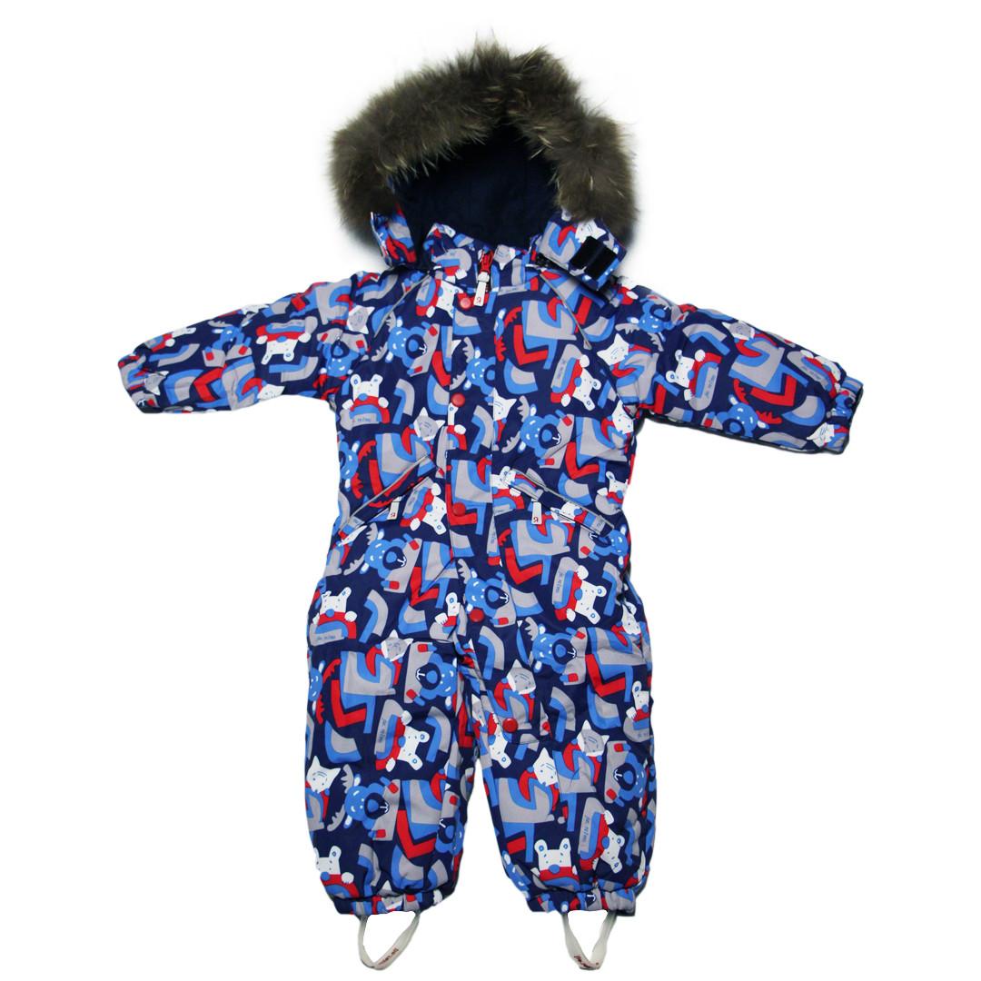 Детский зимний сплошной комбинезон термо для мальчика 98 рост синий