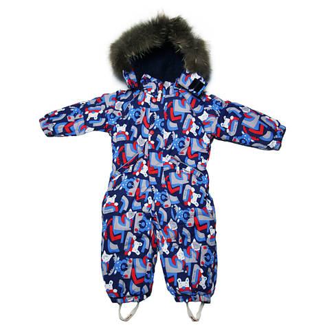 Детский зимний сплошной комбинезон термо для мальчика 98 рост синий, фото 2