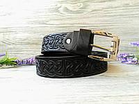 Кожаный ремень мужской черный классический для джинсов с тиснением кельтский узел (пряжка №2)