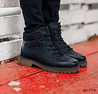Мужские зимние ботинки из эко кожи Levice Style чёрные