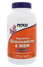 Хондропротектор Now Foods GLUCOSAMINE & MSM 240 капсул