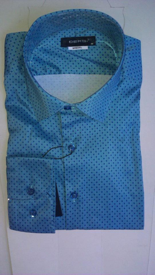 Стильна Чоловіча сорочка DERGI з шовком приталені з довгим рукавом код special