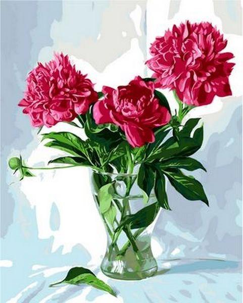 Картина по номерам 40×50 см. Mariposa Пионы в стеклянной вазе Художник Жалдак Эдуард Александрович (Q 997)