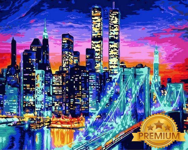 Картина по номерам 40×50 см. Babylon Premium (цветной холст + лак) Ночной Манхэттен (NB 1434)