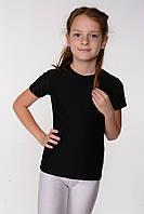 Детская спортивная черная футболка для девочки для танцев и гимнастики Хлопок