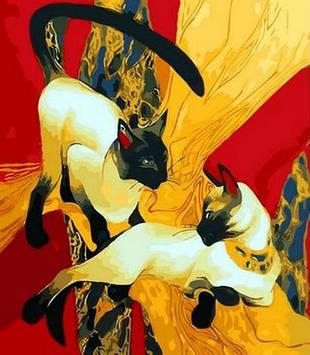 Картина по номерам 40×50 см. Mariposa Сиамские кошки Художник Галла Абдель Фаттах (Q 1278)