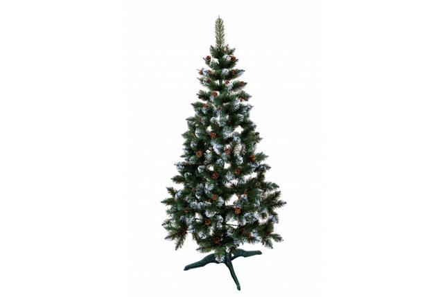 Новогодняя искусственная елка Лидия с имитацией инея и шишками 1.3 метра, фото 2