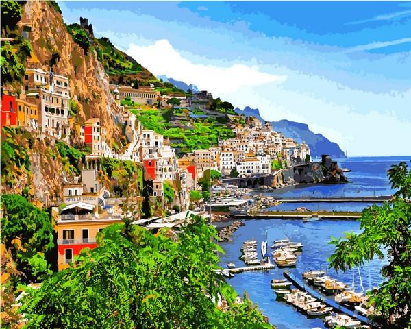 Картина по номерам 40×50 см. Mariposa Позитано деревня на юге Италии (Q 2199)