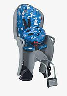 Комплект HAMAX Kiss Safety Package Велокресло детское заднее Kiss на подседельную трубу серое/голубая