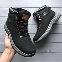 Мужские зимние ботинки из эко нубука Classic Vintage чёрные