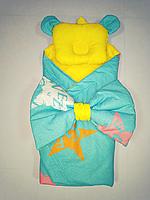 Конверт одеяльце для новорожденного двустороннее с бантом