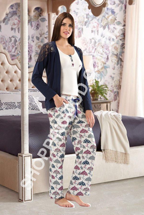 3a9b35fe21da9 Пижама женская Shirly 5921, домашний костюм тройка - блуза, майка и брюки