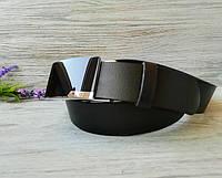Кожаный ремень мужской черный классический для джинсов ручной работы