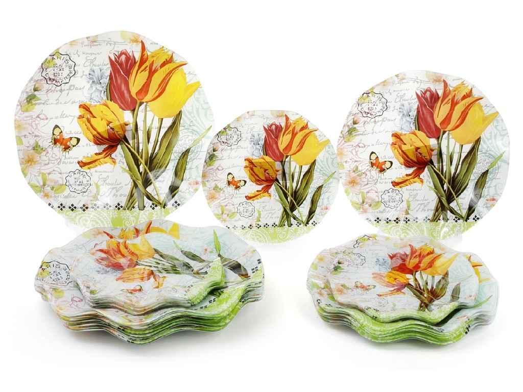 Тарелка стекло BonaDi Букет тюльпанов 250 мм  упаковка 6 шт (809-244)
