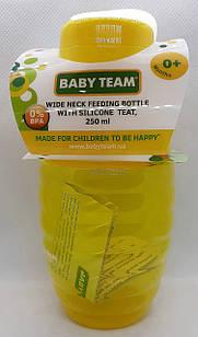 Бутылочка для кормления 250 мл с широким горлом и силиконовой соской, 0+/  Baby Тeam, ар.1002