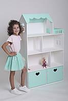 Большой деревянный кукольный домик для кукол Барби и ЛОЛ (мятный)