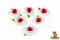 Цветы Розы Бело-красные из фоамирана (латекса) 4 см 10 шт/уп