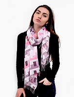 Шарф палантин Эшли 180*70 см розовый/серый, фото 1