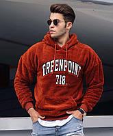 Мужской тёплый худи с начёсом Greenpoint 718 коричневый
